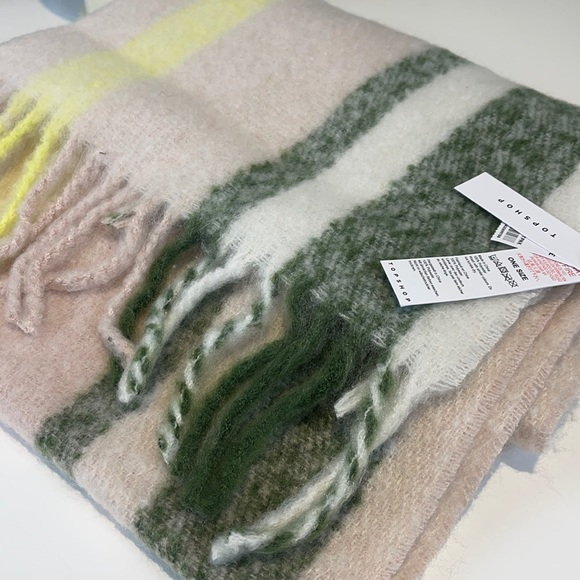 Topshop large fringe scarf pink/yellow/green